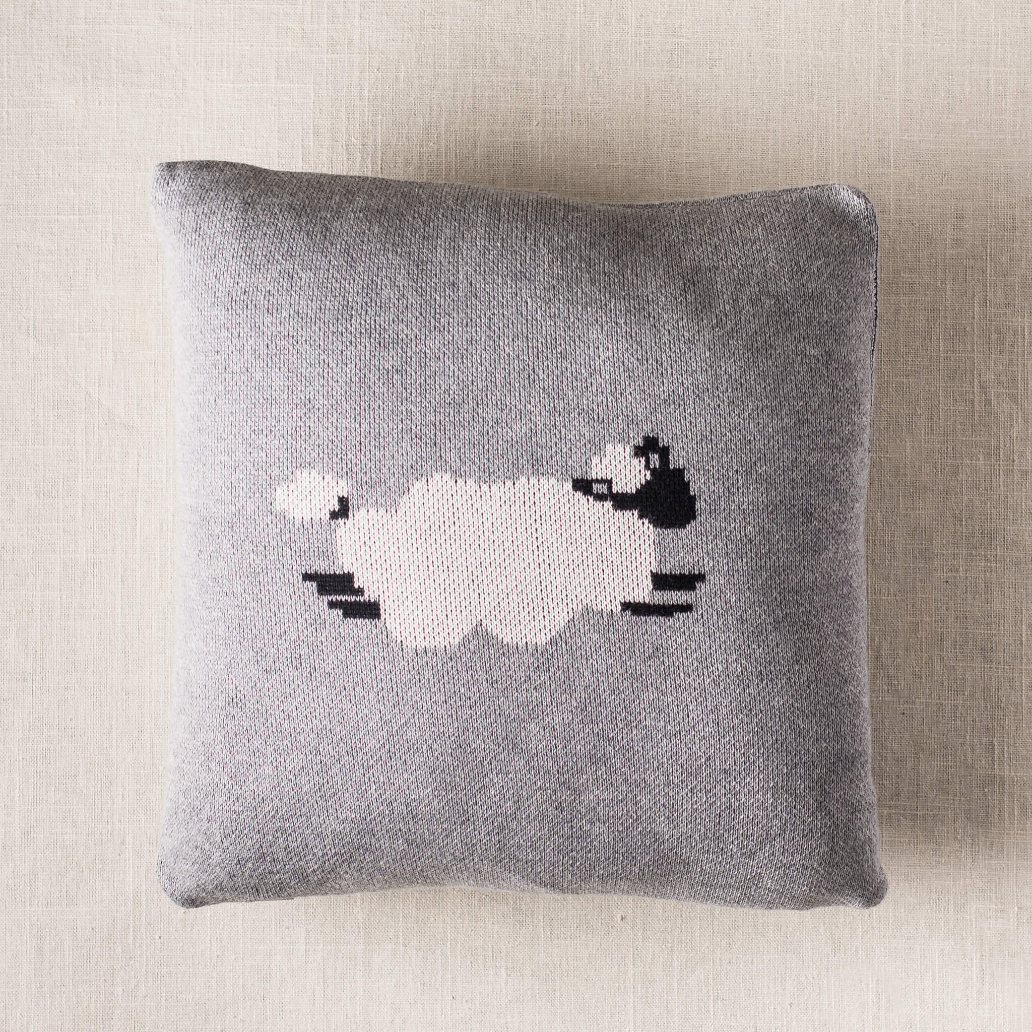 grey sheep baby throw pillow