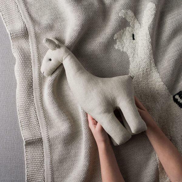 linen llama on llama blanket