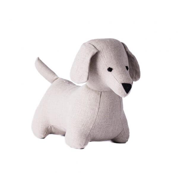 stuffed linen dog