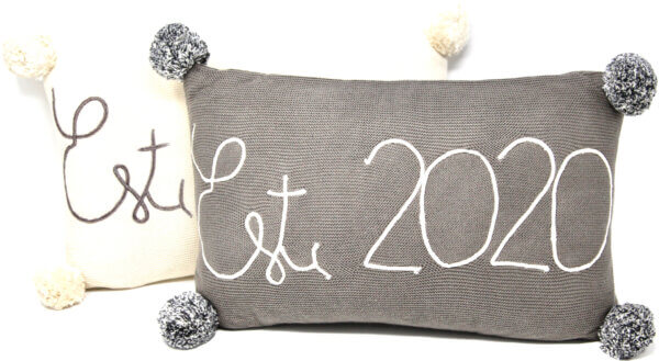 grey or ivory est 2020 accent pillow