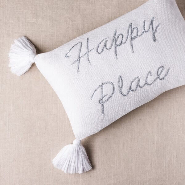 happy place pillow for beach house