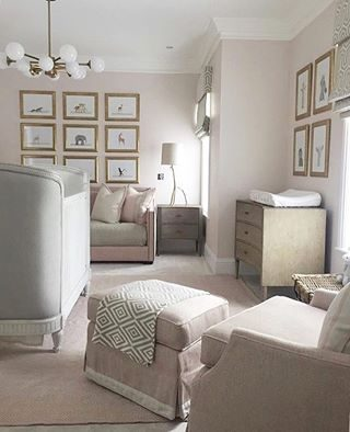 We love everything about this elegant nursery! @rockabyemommy - When I have a blank canvas to start on a new nursery design, I'm always imagining a space with tailored upholstery, a soft color palette, classic furnishings, a hint of gold somewhere and just an overall timeless, refined aesthetic. This beautiful nursery designed by @sophiepatersoninteriors is all of those things and even from just a photo, looks like a room that feels peaceful and envelops you in comfort. This is G o r g e o u s ! 💕💕💕 #nurseryinspo #nursery #bohonursery #nudenursery #nurserydesigner #nurserydesignideas #valentinesgift #babiesfirstvalentinesday #linenperch #babyshowergifts #elegantbaby #sophisticatedstyle #sophisticatedbaby #softcolors
