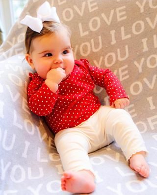 Sweet little valentine with her #iloveyoumore blanket ♥️♥️♥️